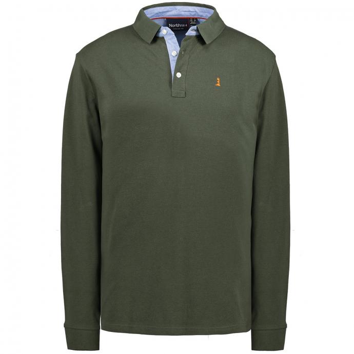 Basic Poloshirt mit langem Arm oliv_0661 | 3XL