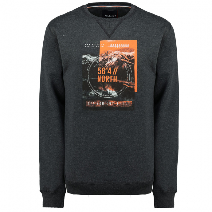 "Sweatshirt mit großem ""56°4//NORTH""-Print dunkelgrau_0090 | 3XL"