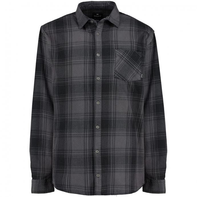 Kariertes Langarmhemd mit Brusttasche grau/schwarz_0920/3010 | 5XL