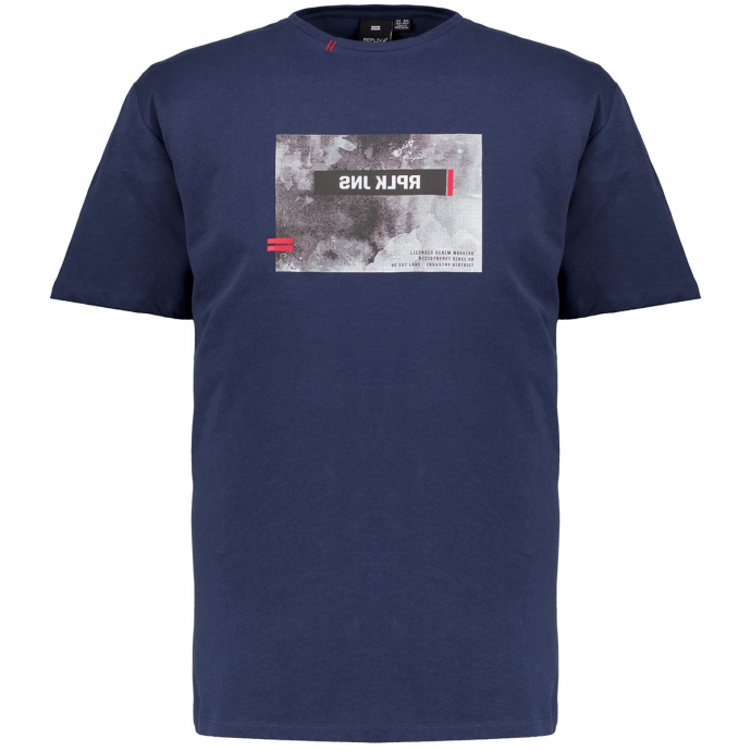 T-Shirt mit gummiertem Replika-Print blau_0580 | 3XL