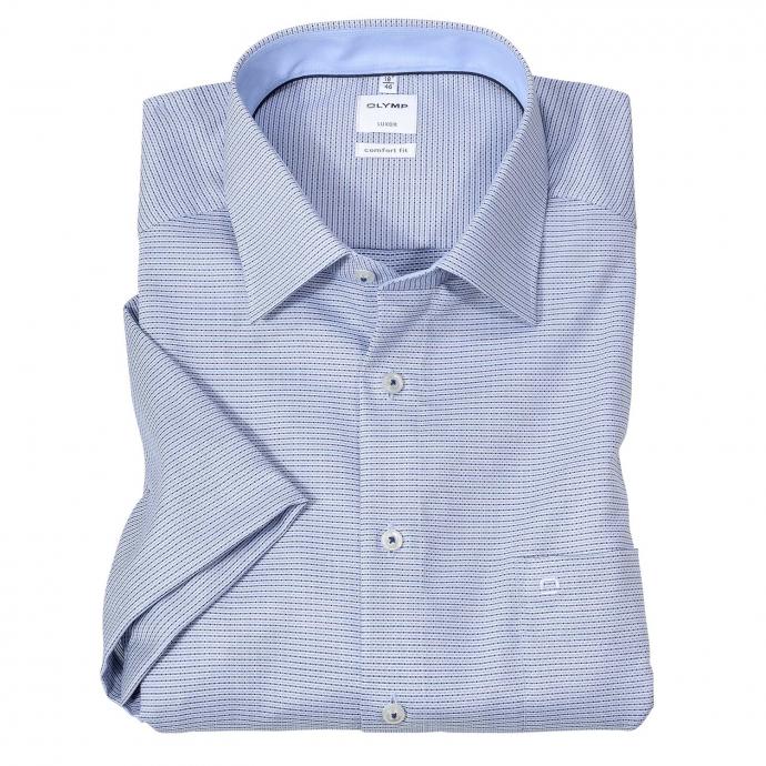 Bügelfreies Cityhemd mit Minimalmuster, kurzarm blau_11 | 50