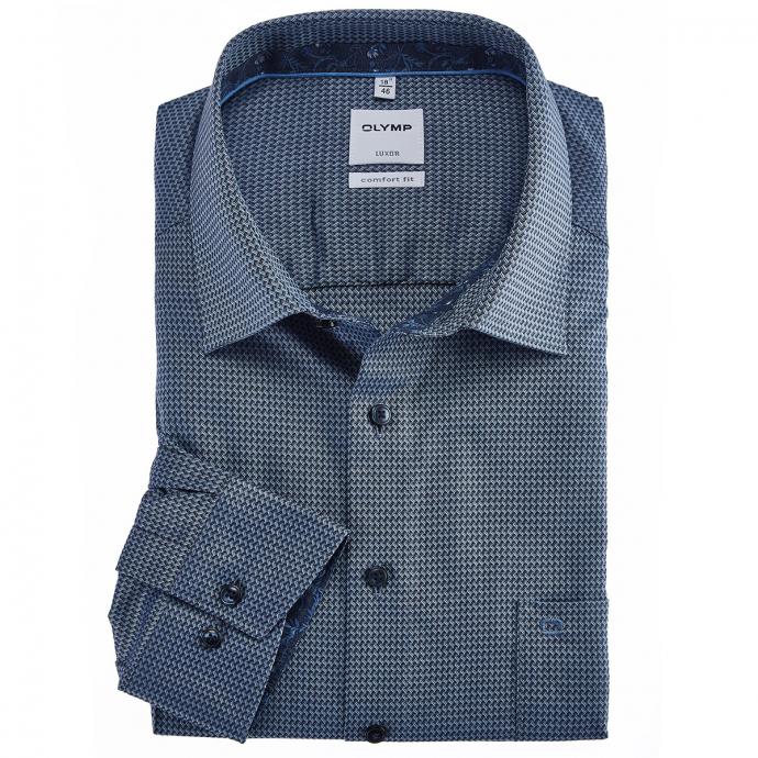 Bügelfreies Langarmhemd mit griffigem Schaftmuster blau_18 | 46