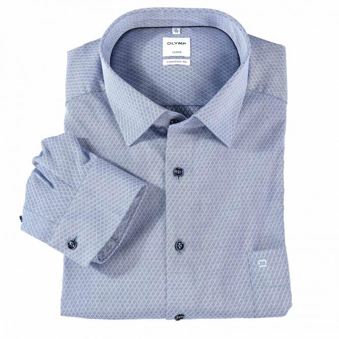 Gemustertes Businesshemd mit langem Arm, bügelfrei blau_18 | 54
