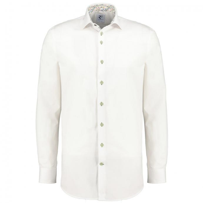 Strukturiertes Langarmhemd mit bedrucktem Ausputz weiß_004   3XL