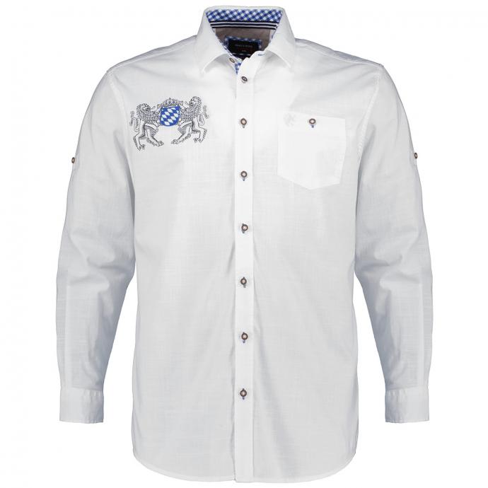 Baumwoll-Trachtenhemd mit Rücken-Stickerei weiß_00 | 3XL
