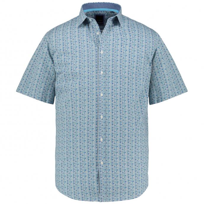 Freizeithemd mit auffälligem Alloverprint, kurzarm blau/türkis_56 | 3XL