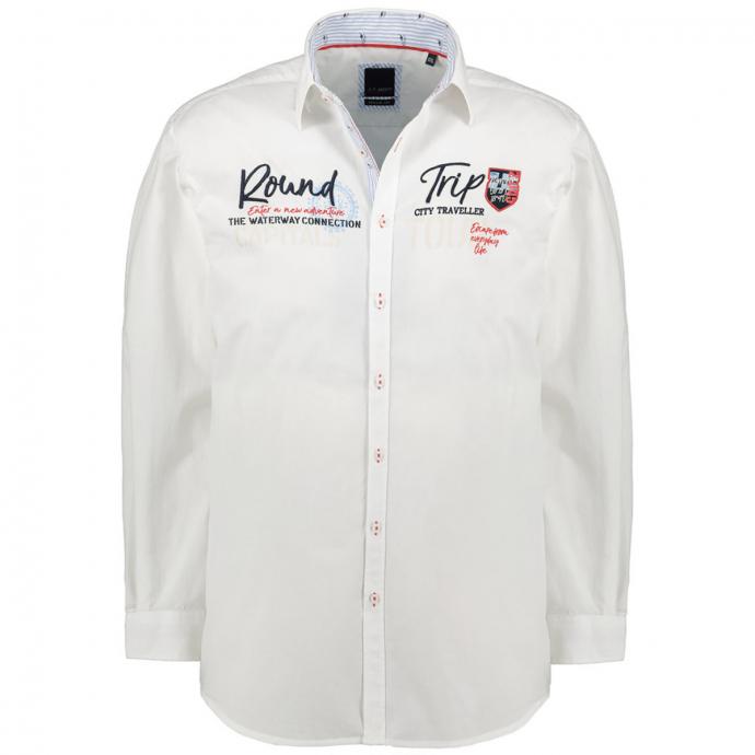 Baumwoll-Freizeithemd mit Applikationen weiß_00   XXL