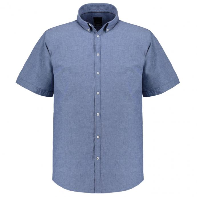 Freizeithemd im Leinenmix, kurzarm dunkelblau_91 | XXL