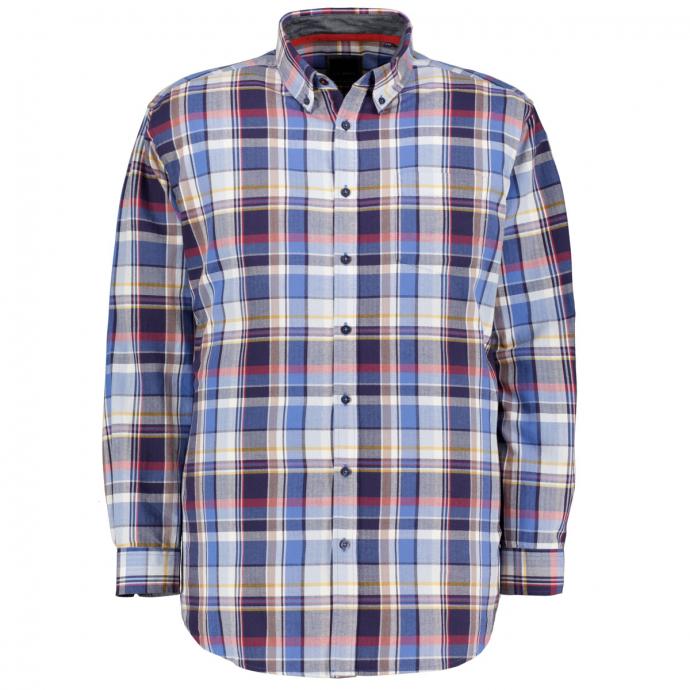 Weiches Baumwollhemd im Karomuster mit Button-Down-Kragen, langarm, Regular Fit dunkelblau_91   3XL