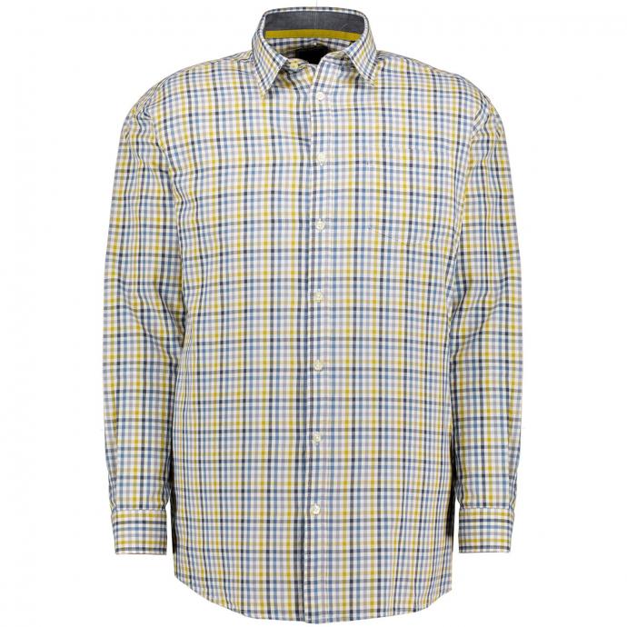 Freizeithemd im Vichy-Karo, Regular Fit blau/gelb_27/4070 | 3XL