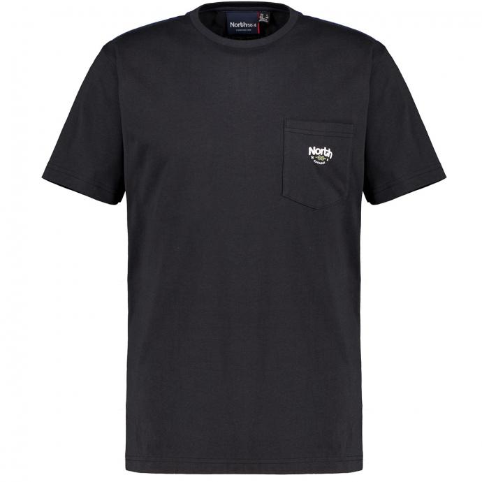 T-Shirt mit Brusttasche aus reinem Baumwoll-Stretch, kurzarm schwarz_0099 | 3XL