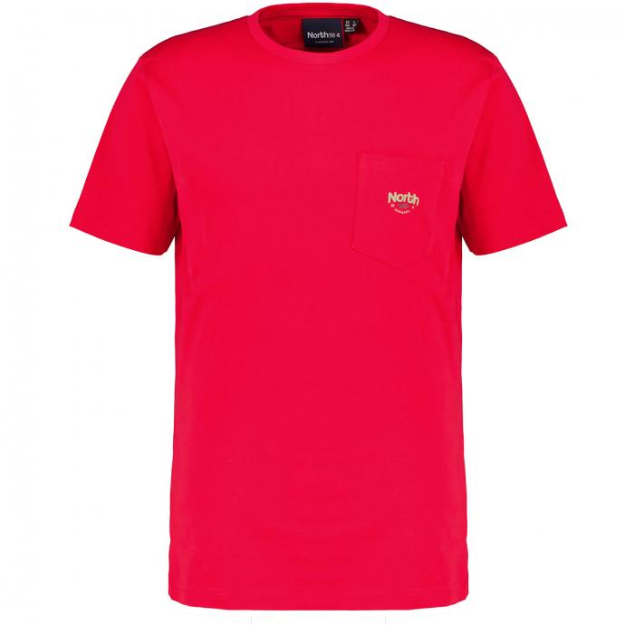 T-Shirt mit Brusttasche aus reinem Baumwoll-Stretch, kurzarm rot_0300 | 3XL