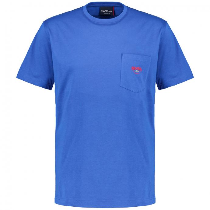 T-Shirt mit Brusttasche aus reinem Baumwoll-Stretch, kurzarm blau_585 | 3XL