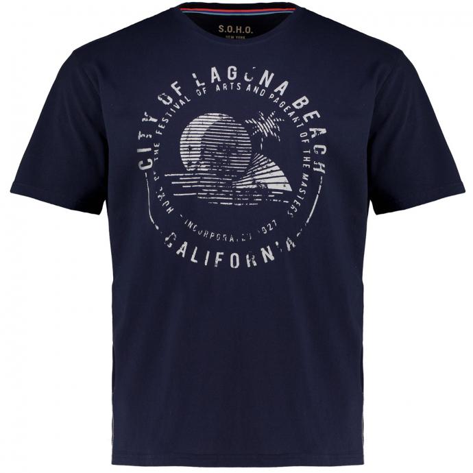 T-Shirt aus Baumwolle mit Print und Kontrastnaht dunkelblau_200   3XL