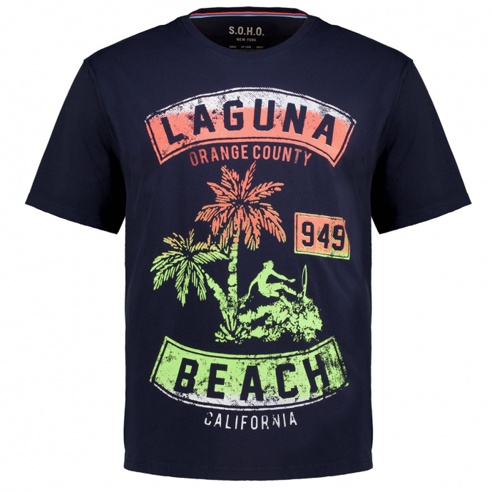 """T-Shirt mit Neon-Print """"Laguna Beach"""" dunkelblau_200   3XL"""