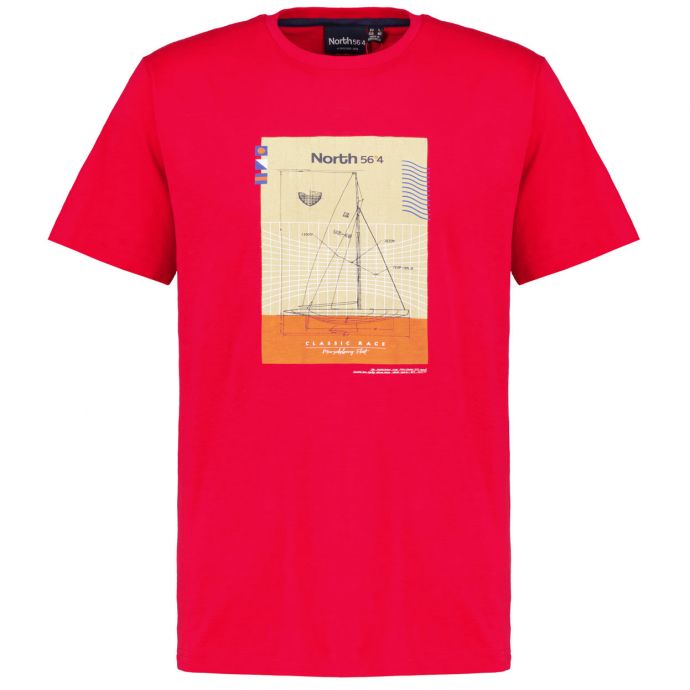 T-Shirt mit maritimen Print, kurzarm rot_0300   3XL