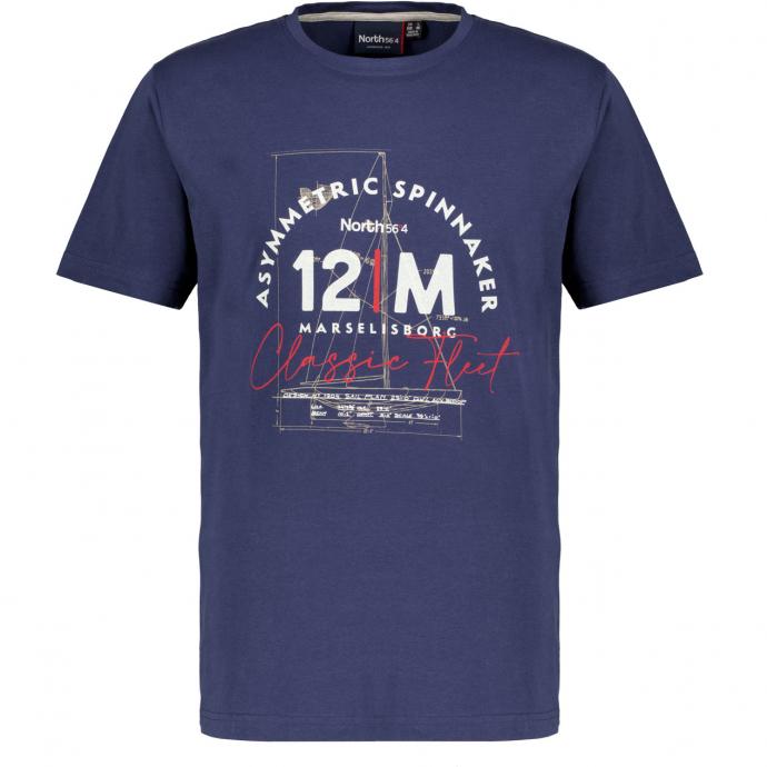 T-Shirt mit nautischem Motiv, kurzarm dunkelblau_0580 | 3XL