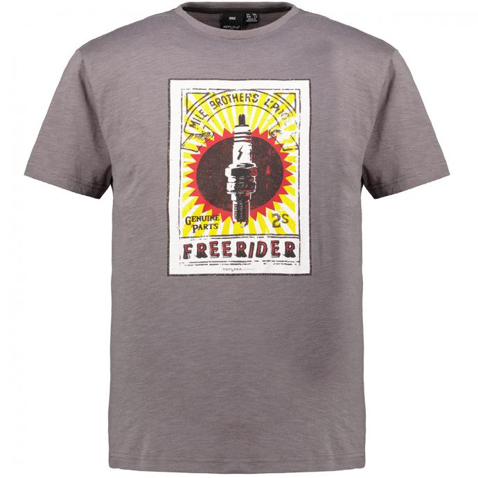"Kurzarm T-Shirt mit ""FREERIDER"" Print dunkelgrau_0090 | 3XL"