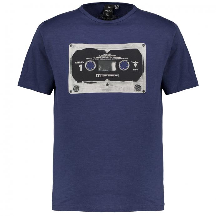 Lässiges T-Shirt mit Kassetten Print blau_0580 | 3XL