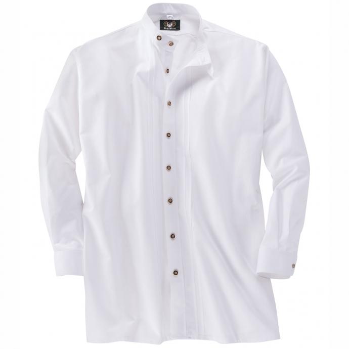 Festliches Trachtenhemd mit modernem Stehkragen weiß_01 | 3XL