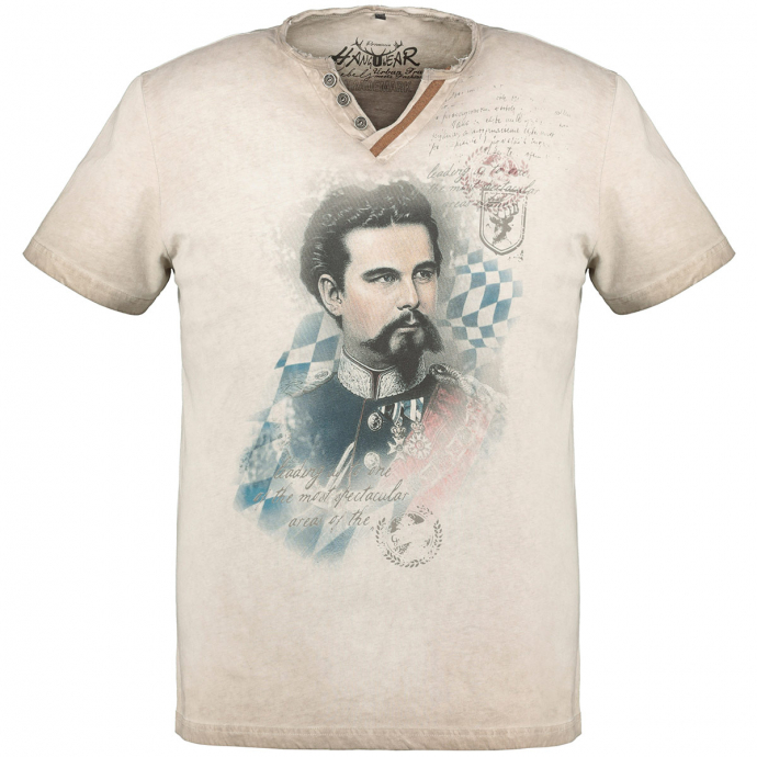 "Meliertes T-Shirt mit ""König Ludwig II""-Print beige_0101 | 3XL"