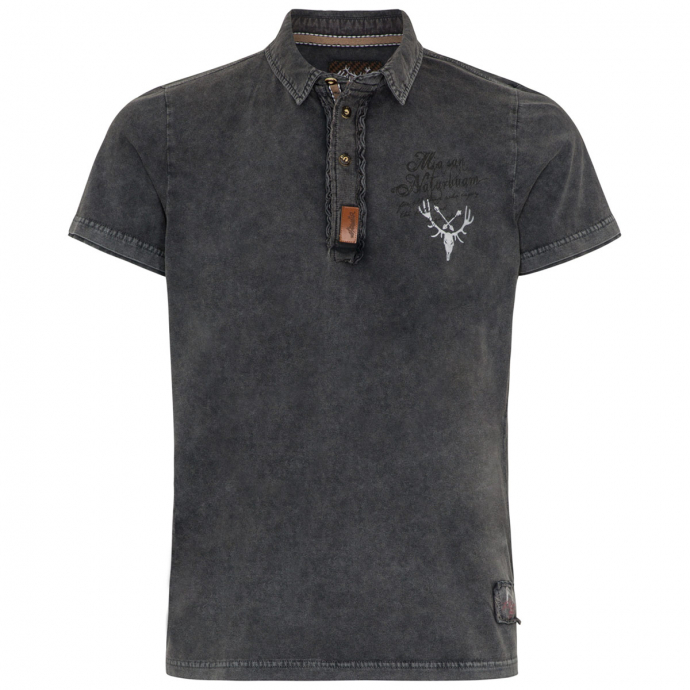 Premium Trachten Poloshirt aus Baumwolljersey dunkelgrau_0202 | 3XL