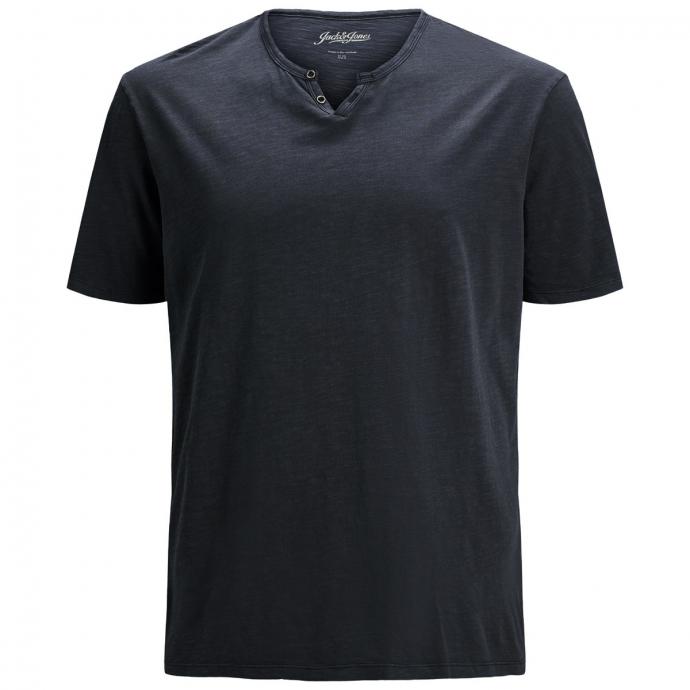 Legeres T-Shirt mit Knopfleiste schwarz_BLACK | 6XL