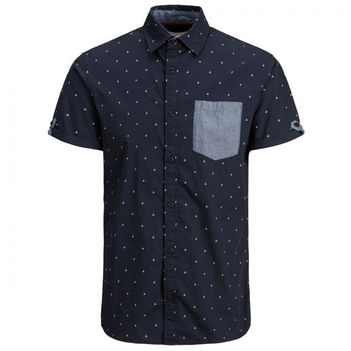 Kurzarmhemd mit kontrastfarbener Brusttasche marine_SKYCAPTAIN   5XL