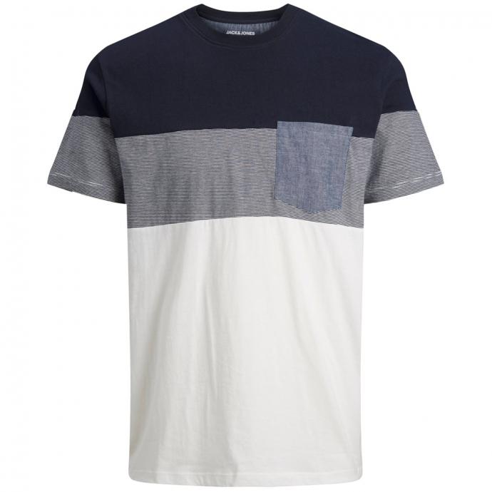 T-Shirt mit Kontrastabsätzen blau/weiß_NAVYBLAZER/WHITE   3XL
