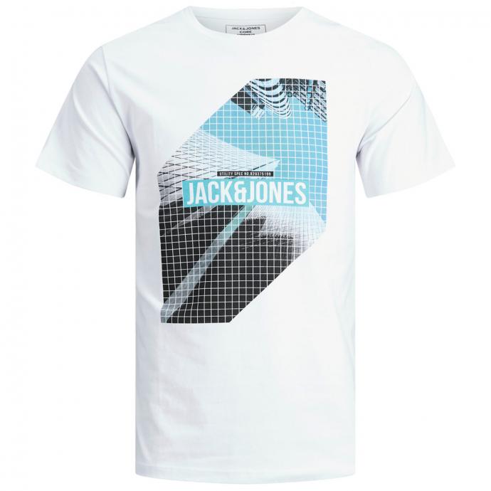 T-Shirt mit auffallendem Frontprint weiß_WHITE | 3XL