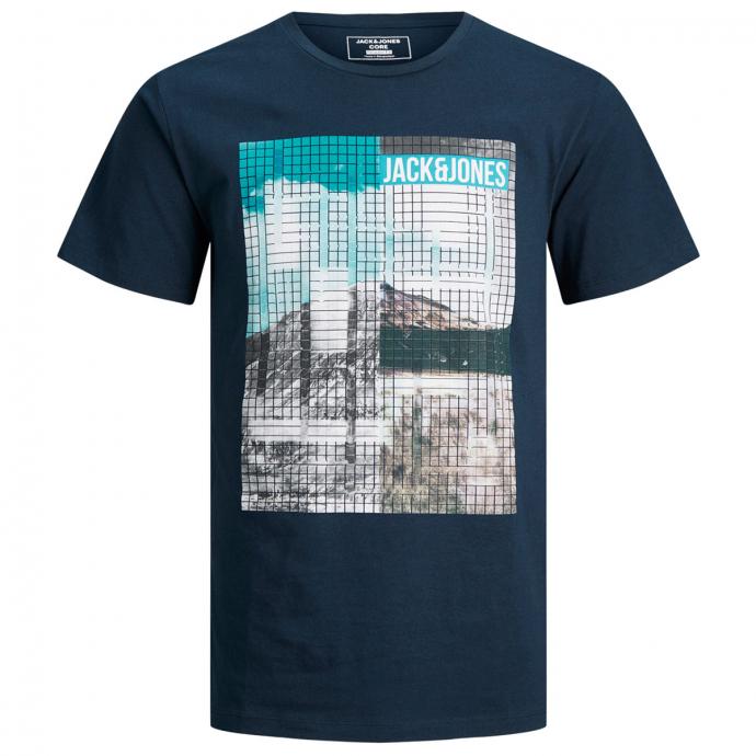 T-Shirt mit großem Frontprint blau_NAVYBLAZER | 3XL