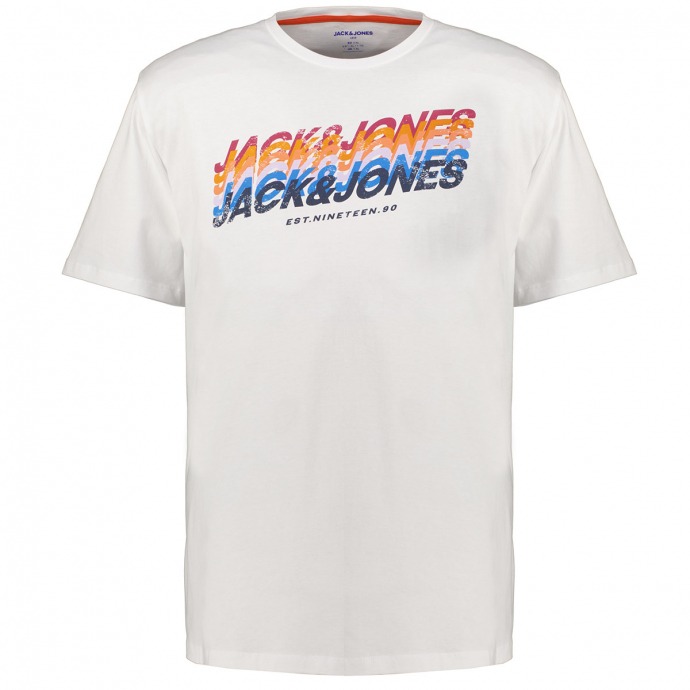 T-Shirt mit mehrfarbigem Letter-Print, kurzarm weiß_WHITE | 3XL