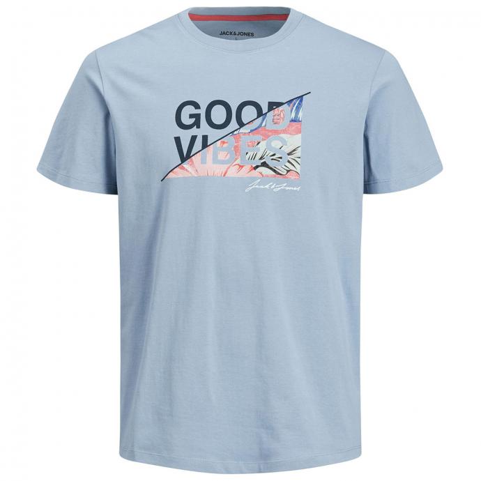 """T-Shirt mit Letter-/Tropicalprint """"Good Vibes"""" hellblau_FADEDDENIM   5XL"""