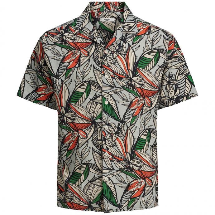 Luftiges Baumwoll-/Leinenhemd mit Tropicalprint, kurzarm blau_AQUA | 5XL