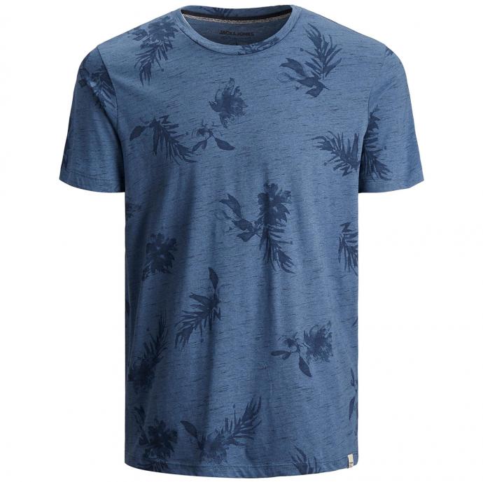 T-Shirt mit Botanik-Alloverprint und Flammgarn-Struktur blau_BLUE   4XL