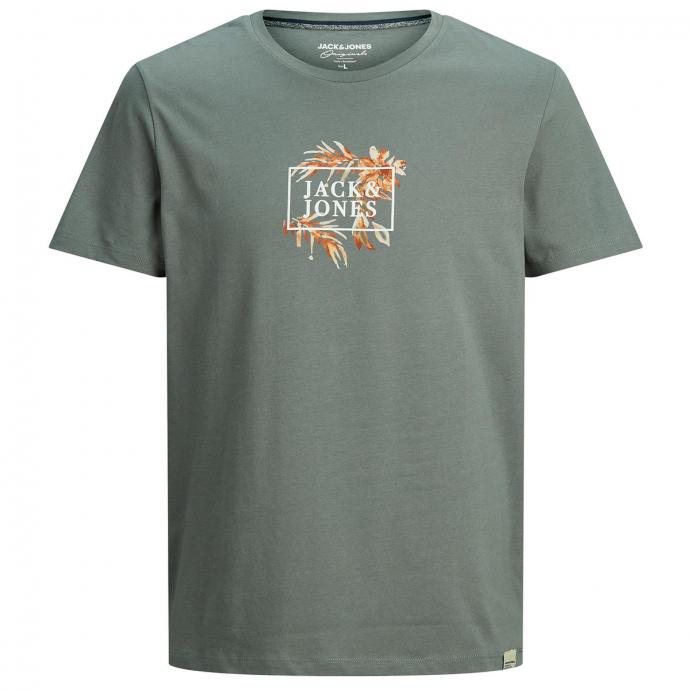 T-Shirt aus Baumwolljersey mit Logo- und Botanikprint grau_SEDONASAGE | 3XL