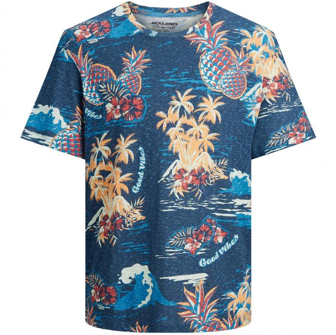 Luftiges T-Shirt aus Bio-Baumwolle mit Tropical-Alloverprint blau_BLUE | 5XL