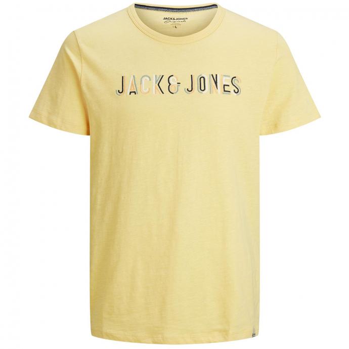 T-Shirt aus Baumwolle mit Multi-Color-Stickerei gelb_SUN | 3XL