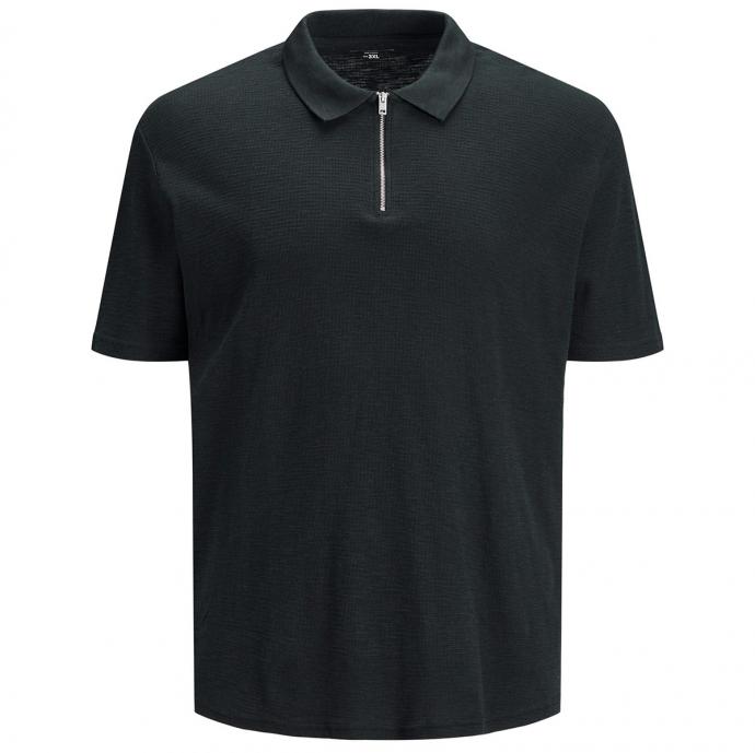Strukturierteres Poloshirt mit Zip dunkelgrau_TAP   3XL