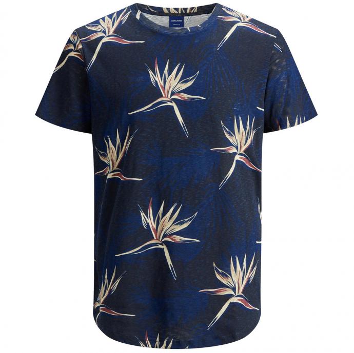 T-Shirt mit Tropical-Alloverprint marine_NAVY | 3XL