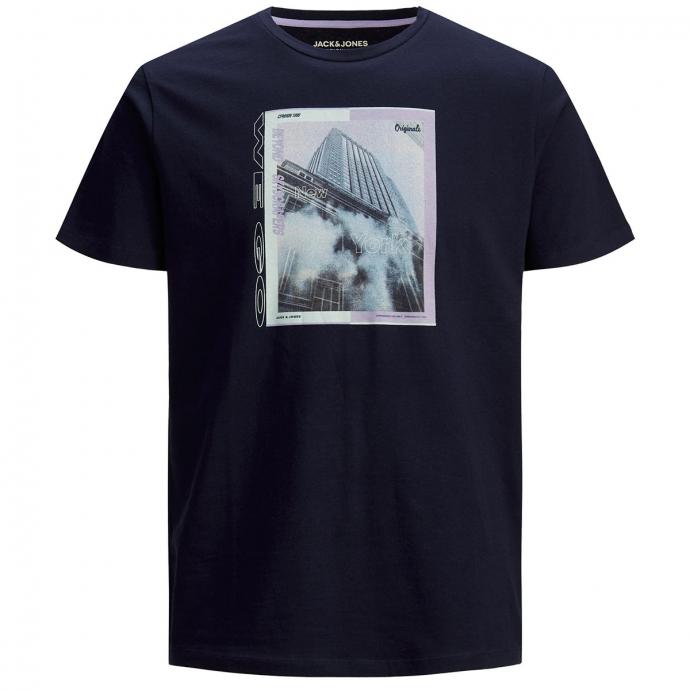 T-Shirt mit plakativem Print, kurzarm marine_NAVY | 3XL
