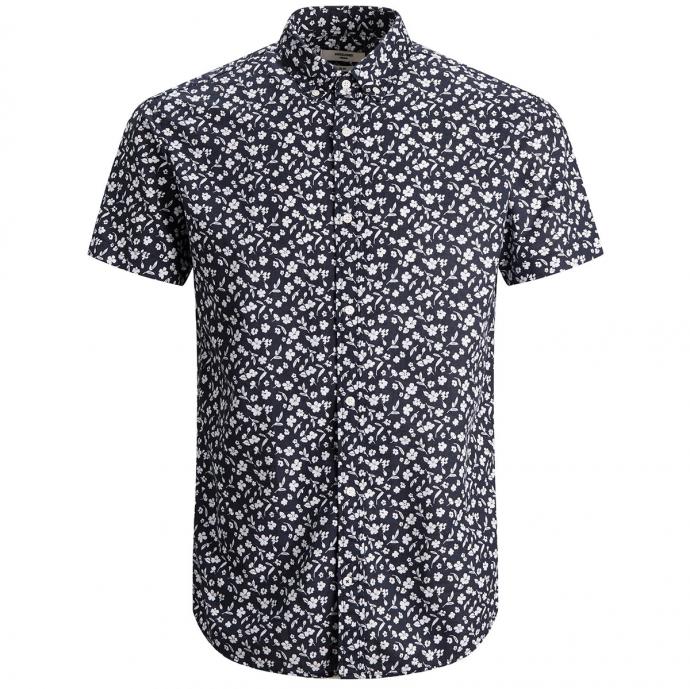 Freizeithemd aus luftigem Baumwolle-Leinenmix mit Botanik-Print,  kurzarm blau_NAVYBLAZER | 5XL