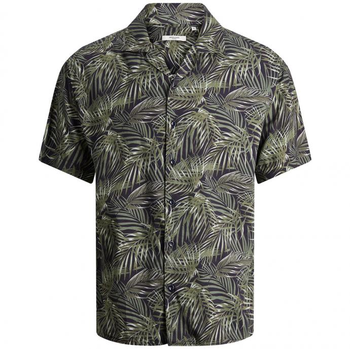 Freizeithemd mit tropischem Allover-Print schwarz_BLACK | 3XL