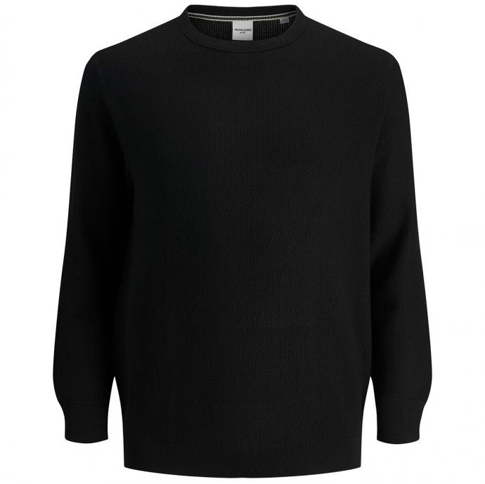 Leicht strukturierter Pullover schwarz_BLACK   3XL