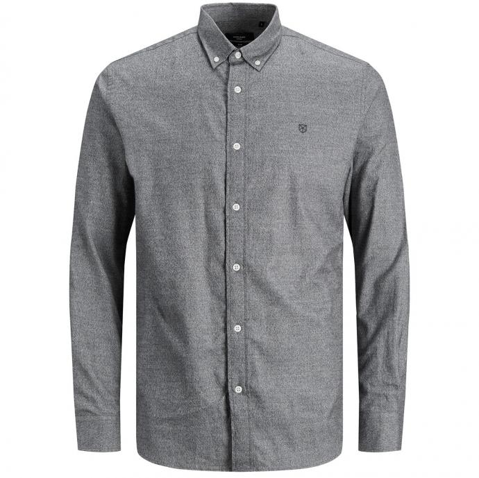 Schlichtes Baumwollhemd, langarm grau_GREYMELANGE/30 | 3XL