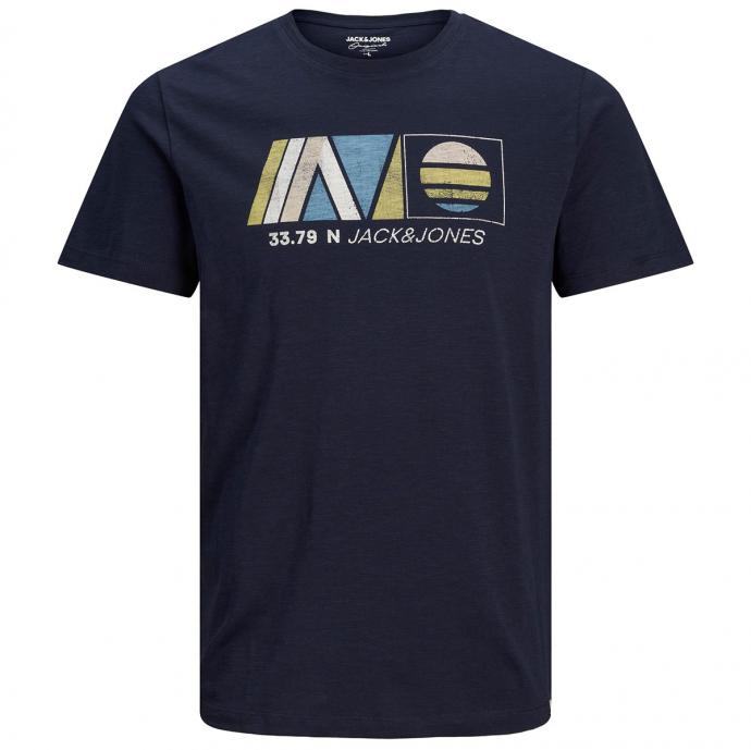 T-Shirt mit Print in Flammgar-Optik blau_NAVYBLAZER | 3XL