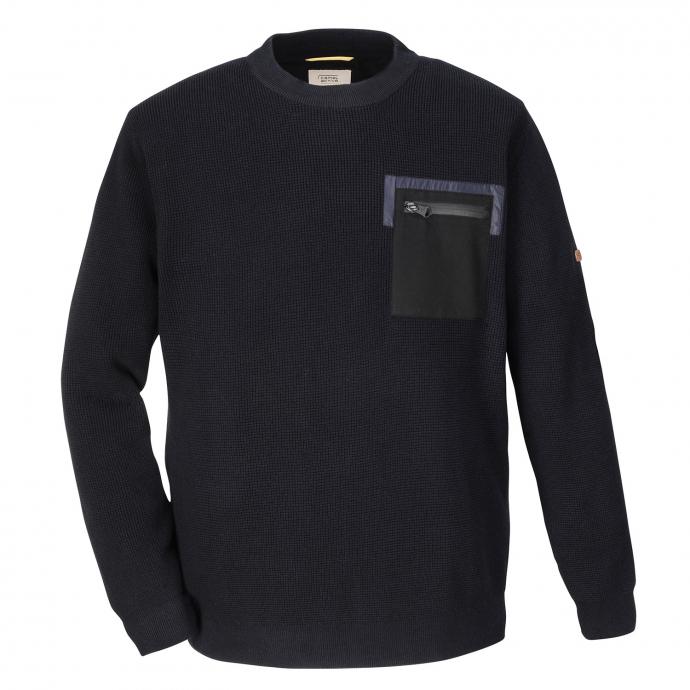 Baumwoll-Strickpullover mit Rundhalsausschnitt dunkelblau_19/400 | 3XL