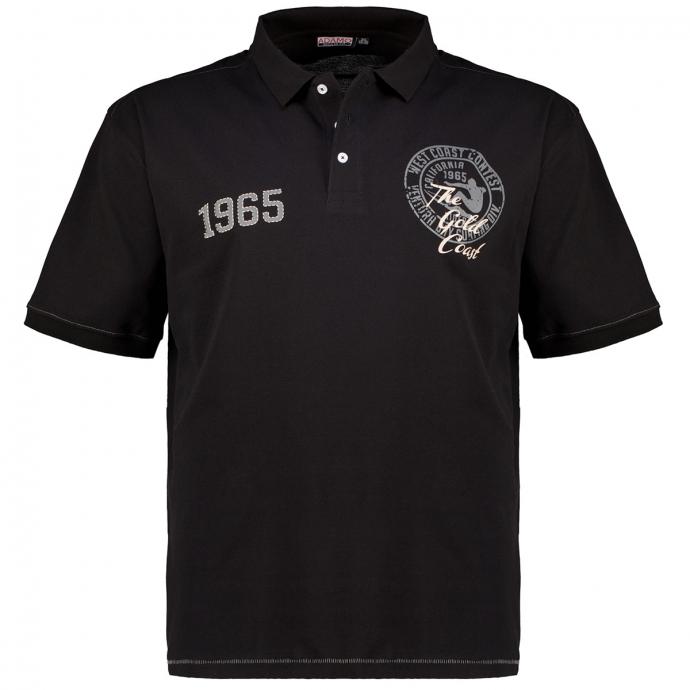 "Poloshirt aus Baumwoll-Piqué ""WEST COAST"" schwarz_700 | 3XL"