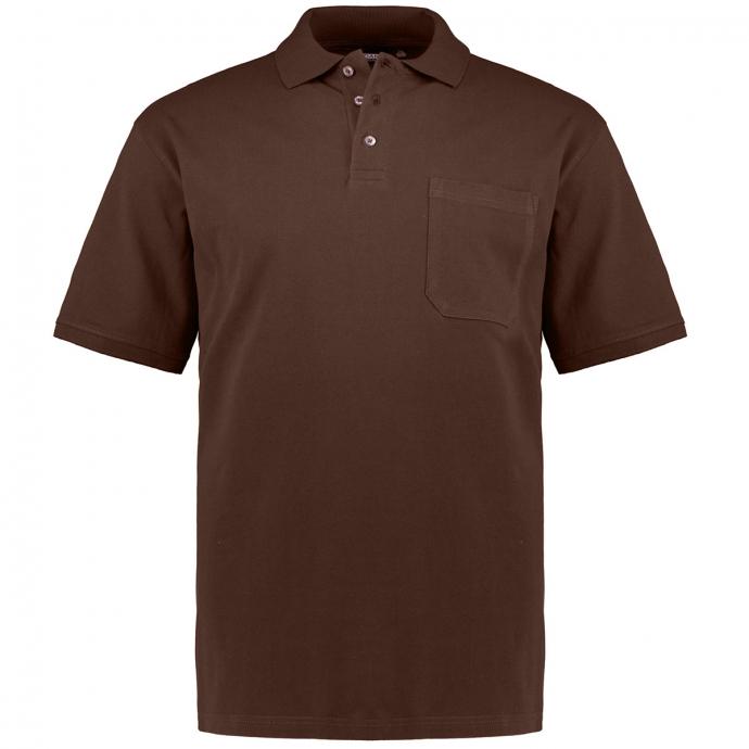 Poloshirt mit aufgesetzter Brusttasche, kurzarm braun_290 | 3XL