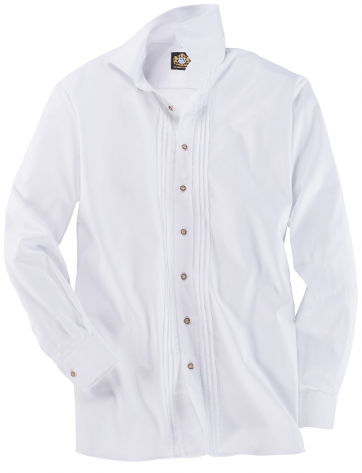 Traditionelles Trachtenhemd mit Biesen und Hornknöpfen, langarm weiß_WEIß | 3XL